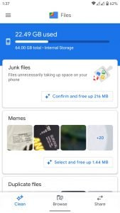 free storage space on android