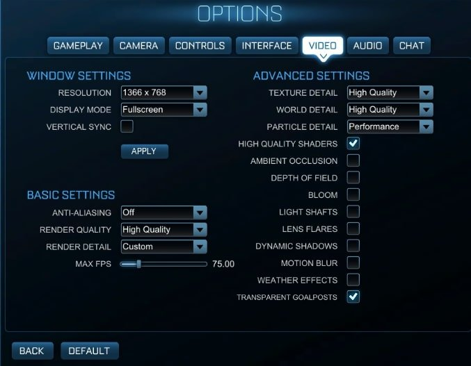 Rocket League Settings