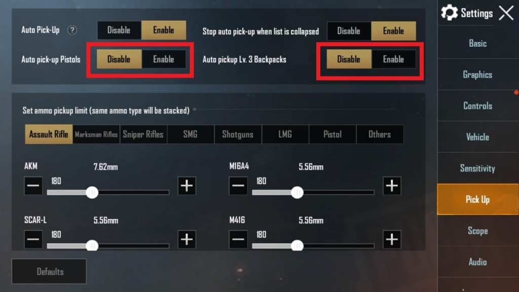 pubg mobile settings
