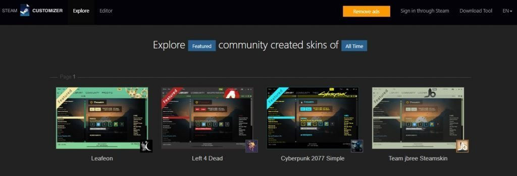 steam skins library