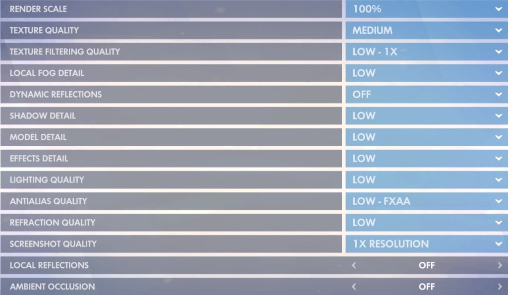 max performance settings in overwatch