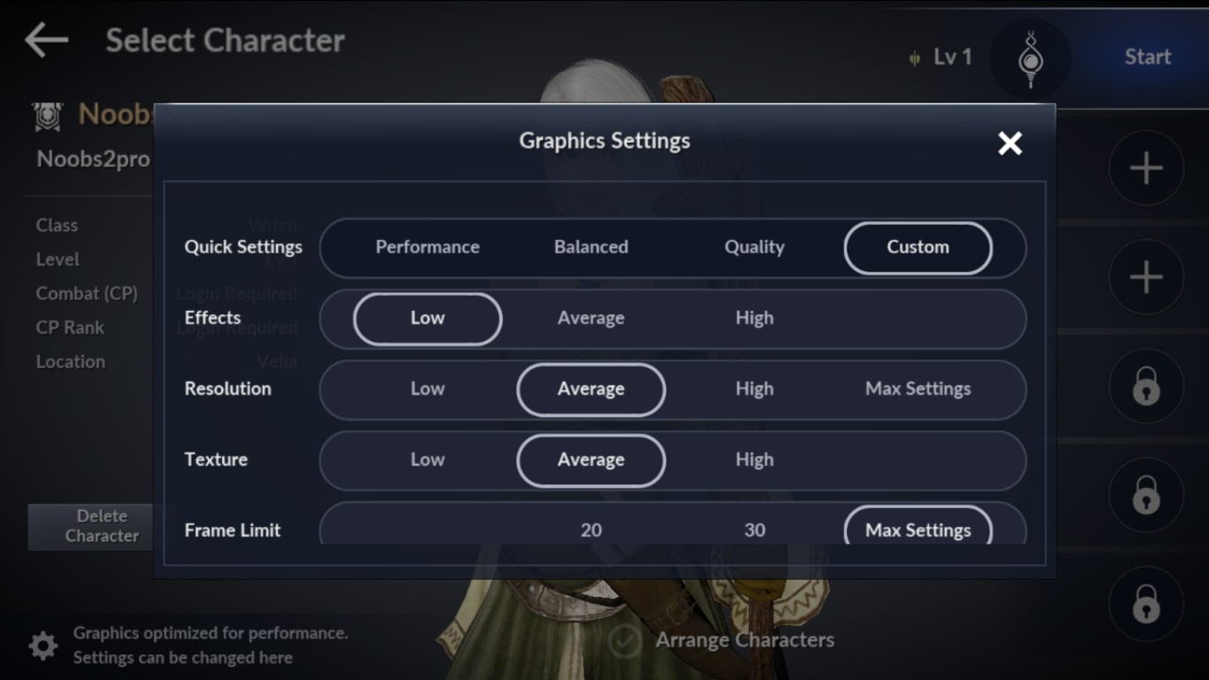 black desert mobile graphics settings