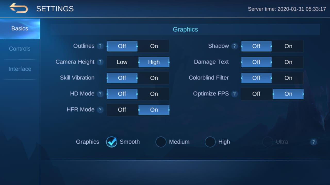 graphics settings mobile legends