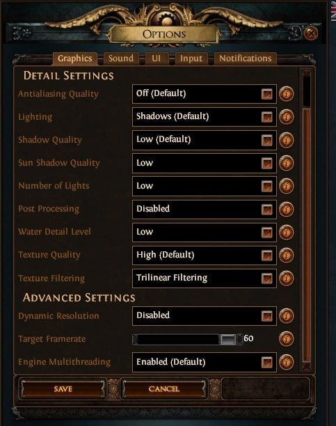 best performance and graphics settings for path of exile