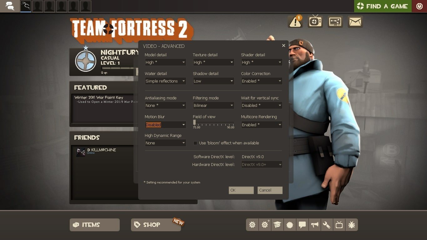 performance settings team fortress 2