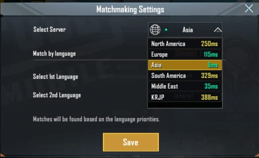 fix lag in pubg mobile by selecting the right server