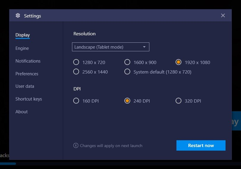 bluestacks engine settings