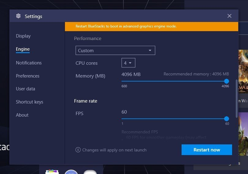bluestacks engine settings for gaming