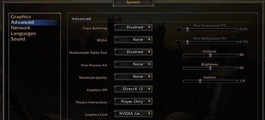 world of warcraft graphics settings for fps