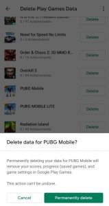 remove google account pubg mobile
