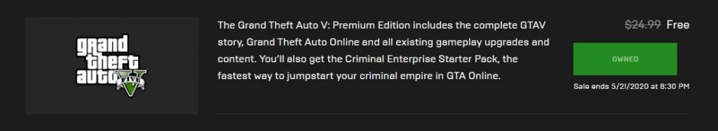 get GTA V FREE on epic games