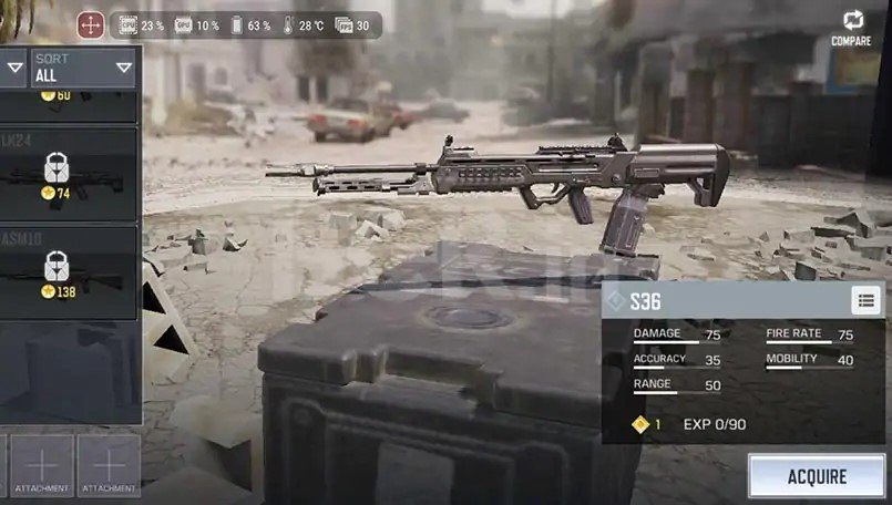 S36 light machine gun in call of duty mobile