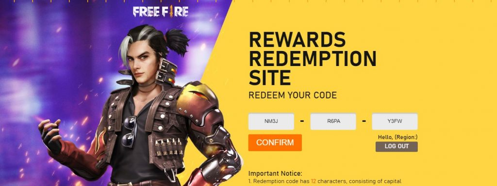 free fire redeem code example in game item