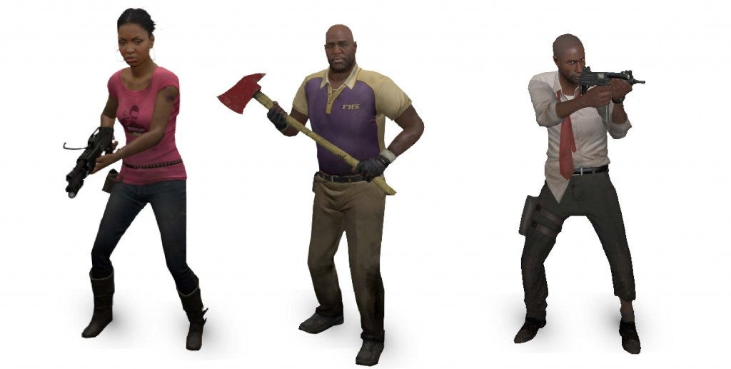 Black lead characters in left for dead 2