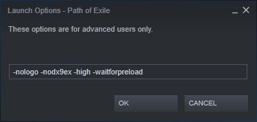 path of exile steam launch options