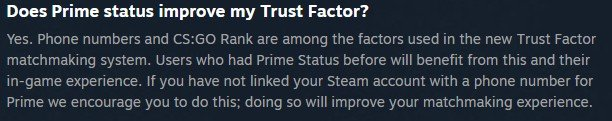 prime membership improves trust factor in cs go