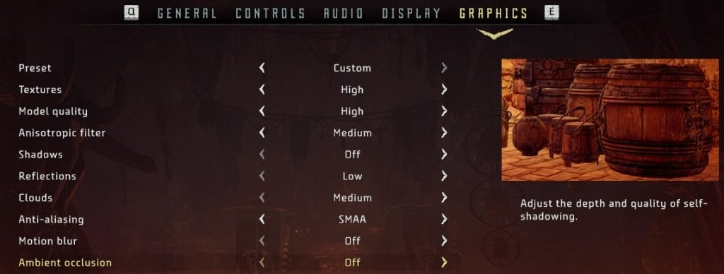 horizon zero dawn graphics settings to fix lag