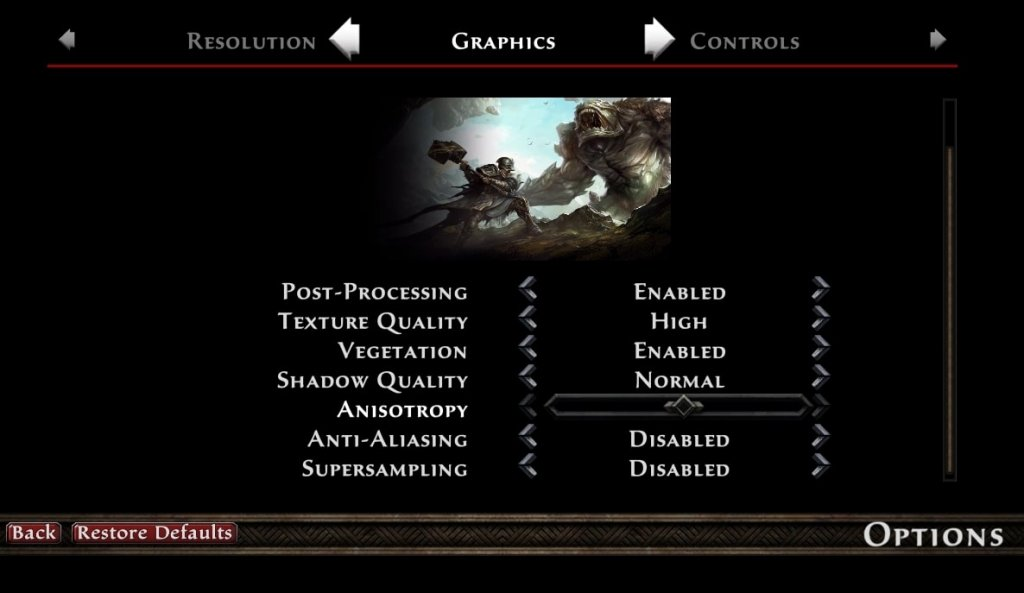 Kingdoms of Amalur Re:reckoning graphics settings
