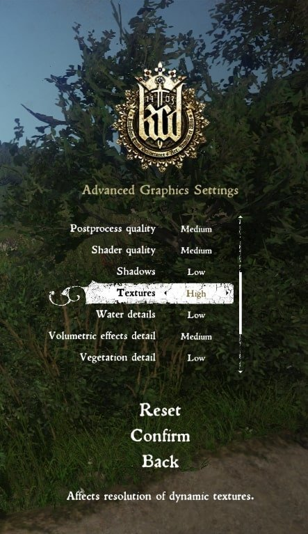 kingdom come deliverance graphics settings to fix lag