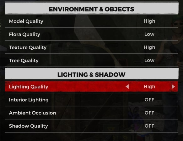 h1z1 graphics settings to fix lag