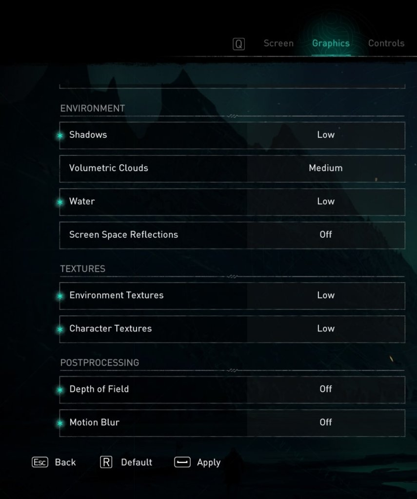 assassin creed Valhalla graphics settings to fix lag and increase FPS