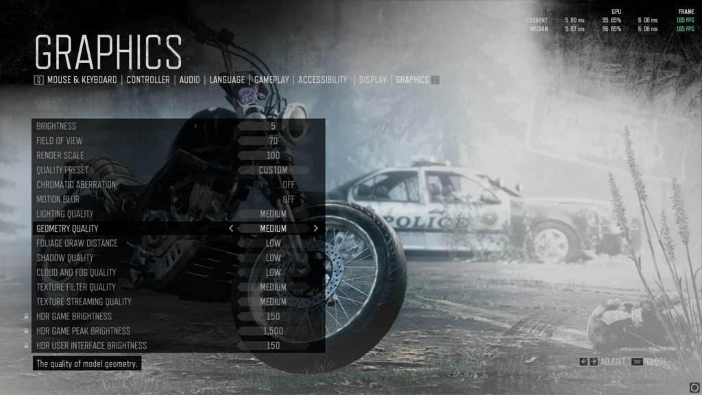 days gone graphics settings to fix lag