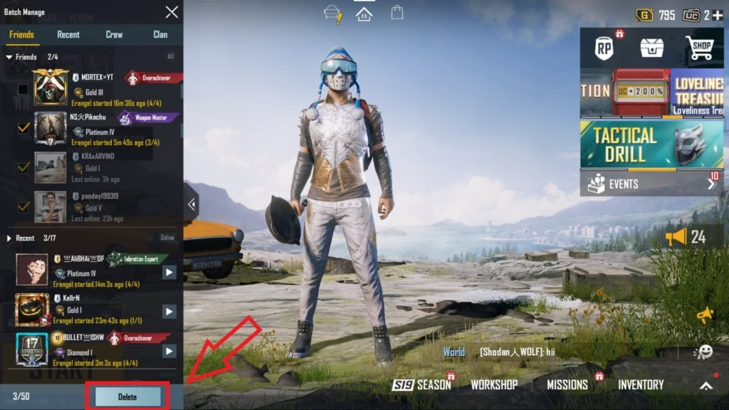 how to remove friends in battlegrounds mobile india